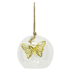 Bola de Vidrio Mariposa Oro Cristal Ice