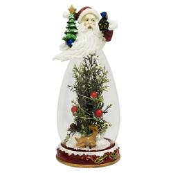 Adorno de Vidrio y Resina Papa Noel con Árbol 24cm