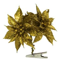 Flor Ponsetia Oro con Clip