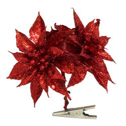 Flor Ponsetia Rojo con Clip