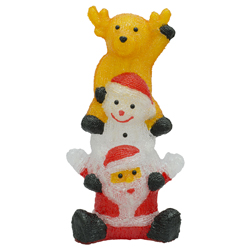 Santa con Muñeco de Nieve Acrílico con Luz Led 60cm