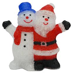 Santa y Muñeco  de Nieve  con Luz Led 40cm