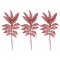 Ramas Escarchadas Rojo  Set de 3 Piezas