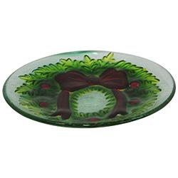 Bandeja Navideña de Vidrio con Diseño de Wreath