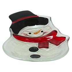 Bandeja Navideña de Vidrio Snowman