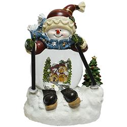 Bola de Cristal con Nieve Música y Ski Snowman