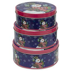 Cajas Navideñas Redonda en Set de 3 Piezas