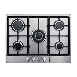 Cocina a Gas con 4 Quemadores + 1 Triple Llama de Acero Inoxidable de 68x50cm Mastermaid