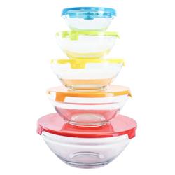 Tazón de Vidrio con Tapa de Colores en Set de 5 Piezas