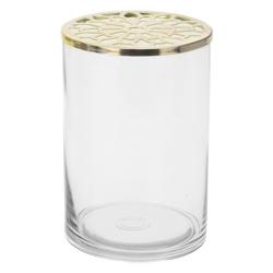 Portavela Gris de Cristal con Tapa