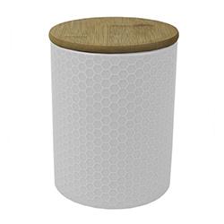Envase Blanco de Cerámica con Tapa Bambú