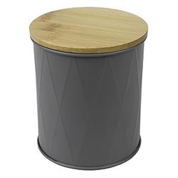 Envase Gris con Tapa Bambú