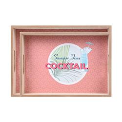 Bandeja de Madera Cocktail Rosa 2 Piezas