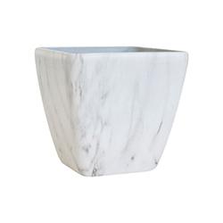 Porta Macetero Blanco Diseño de Mármol 27cm